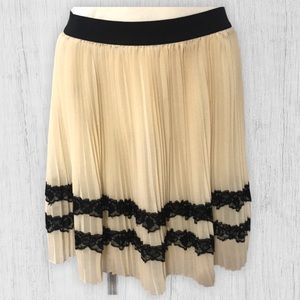 NWT! American Rag Pleated Skirt with Black Lace